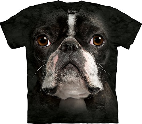 The Mountain Boston Terrier Face Tie-Dyed Black Hi-Definition T-Shirt- (Boston Terrier Face)