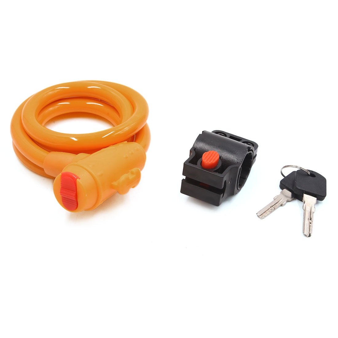 uxcell Yellow Bicycle Bike Steel Cable Anti Thief Coil Security Lock Chain with 2 Keys