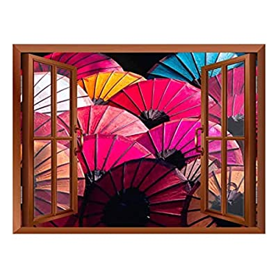 Copper Window Looking Out Into Colorful Japanese Umbrellas Wall Mural, Crafted to Perfection, Dazzling Expert Craftsmanship