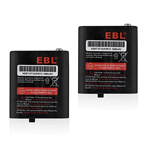 EBL 2 Packs 3.6V 1000mAh Two-Way Radio Rechargeable Batteries for Talkabout Motorola 53615 KEBT-071A KEBT-071-B KEBT-071-C KEBT-071-D 650 Mah Replacement Battery