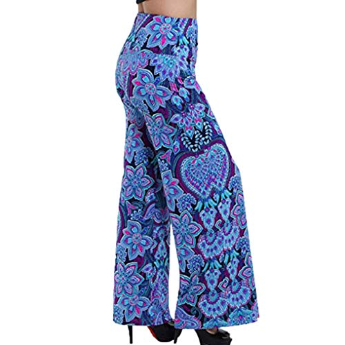 JERFER Women Sexy Wide Leg Stretchy Printed Elastic Waistband Mid Waist Wide Pants Fashion Blue Autumn Trousers