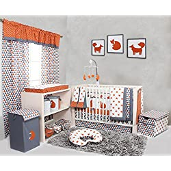 Bacati Playful Foxes Woodland Girl's 10 Piece Crib Set Including Bumper Pad, Orange/Grey