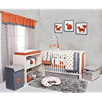 Bacati Playful Foxs 10 Piece Crib Set Including Bumper Pad, Orange/Grey
