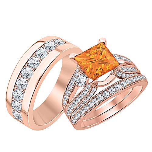 SVC-JEWELS Beautiful Wedding Halo Trio Ring Band Set Princess Shaped 3.75 cttw Orange Sapphire & Dimaond 14k Rose Gold Plated .925 Sterling Silver for Men & Women's -