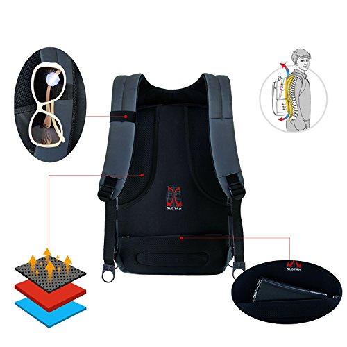 "SLOTRA 17"" Mochila para portátil resistente al agua anti robo de Zip Laptop Mochila Gris Gris"