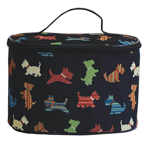 Signare Women's Round Large Cosmetic Bag Travel Makeup Organiser Case Handle with Scottie Dog (TOIL-SCOT)