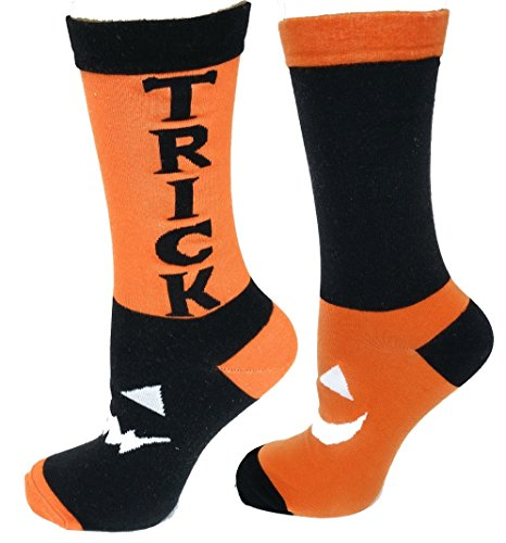Halloween Men's Women's Dress Socks (Large, Yellow Pumpkins)