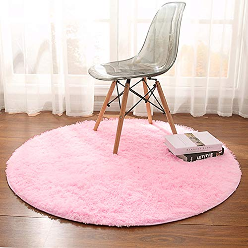 Noahas 4-Feet Luxury Round Area Rugs Super Soft Living Room Bedroom Carpet Woman Yoga Mat, Pink (Teal Bedroom Accessories)