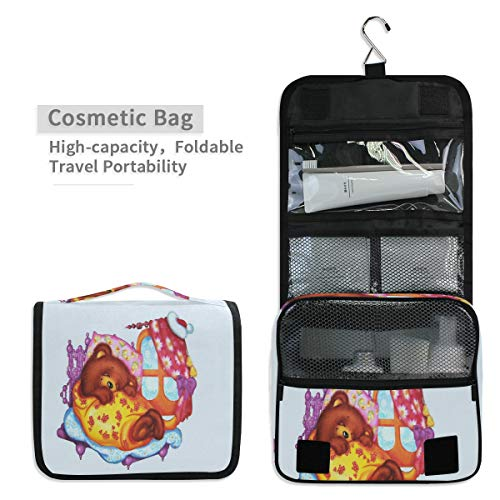 Toiletry Organizer Wash Bag,Sleeping Bear Portable travel bathroom shower bags Deluxe Large Capacity Waterproof Pouch Kit with Hook for Men and Woman