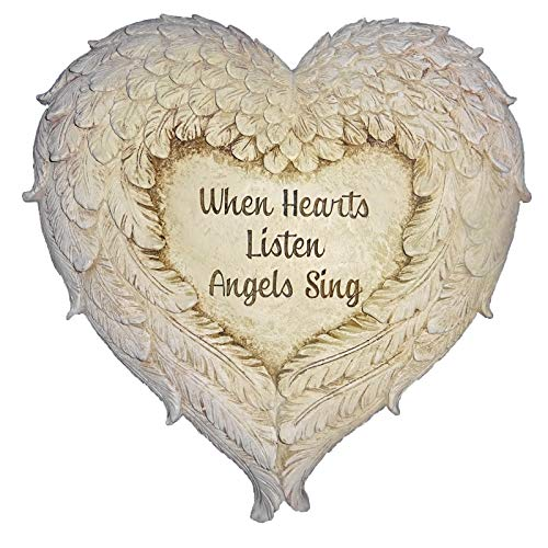 (Roman Angel Wings Memorial Garden Marker Stepping Stone or Wall Hanging 12 Inch When Hearts Listen Angels Sing)