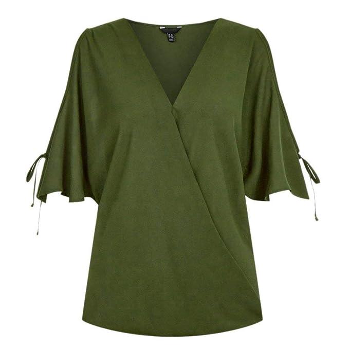 Mujer Camisetas Elegante Moda Color Sólido Tops Verano V Cuello Manga Corta Off Shoulder Basic De
