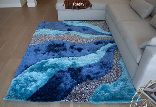 8'x10' Turquoise Blue Silver Gray Grey 3D Shag Shaggy Area Rug Carpet Striped Woven Braided Hand Knotted Feizy Accent Fluffy Fuzzy Modern Contemporary Medium Pile Shimmer - Signature L3 Turquoise