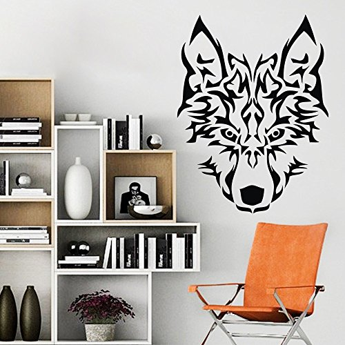 [Wolf Head Vinyl Wall Decal Art Wall Poster Graphics Sticker (Black, Large)] (Animals That Start With The Letter M)