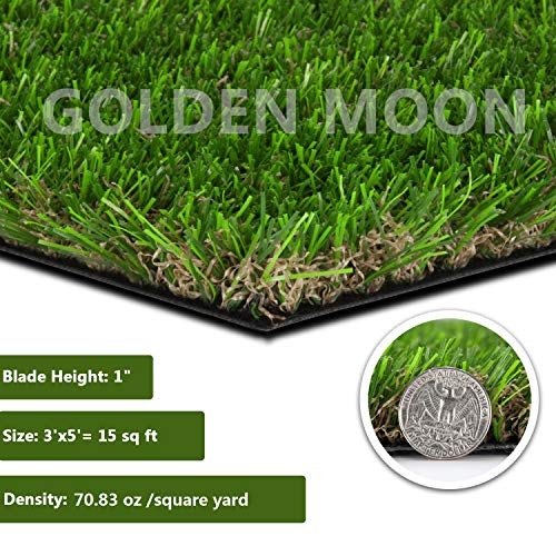 GOLDEN MOON Realistic Artificial Grass Mat 3'x 5'(15sq ft) 3-Tone Thick Outdoor Turf Rug 1in(25mm) Blade Height Series Green