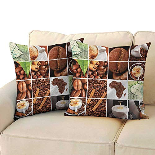 (RuppertTextile African Breathable Pillowcase Coffee Beans Mugs Collage Mildew Proof W13 x L13)