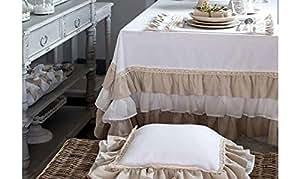 "Blanc Mariclo––Mantel redondo ""FRU FRU '180cm de diámetro"