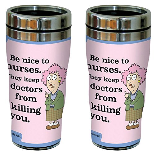 Travel Tumbler 16 Johnson Oz ((Set/2) Auntie Acid Contoured Acrylic 16 OZ Be Nice To Nurses Travel Tumbler)