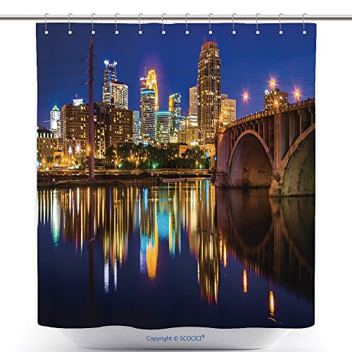 Waterproof Shower Curtains The Central Avenue Bridge And Skyline Reflecting In The Mississippi River At Night In Minneapolis 282687104 Polyester Bathroom Shower Curtain Set With Hooks