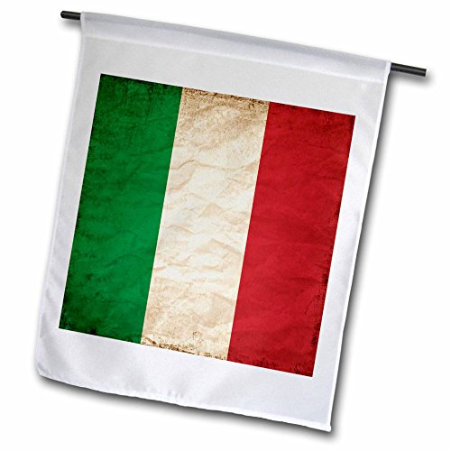 3dRose Sven Herkenrath Flags - Italian Flag Old Look Trendy Work - 12 x 18 inch Garden Flag (fl_255823_1) -