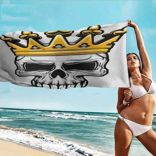 (Antonia Reed Microfiber Bath Towel King,Hand Drawn Crowned Skull Cranium with Coronet Tiara Halloween Themed Image,Golden and Pale Grey,Suitable for Home,Travel,Swimming Use 32