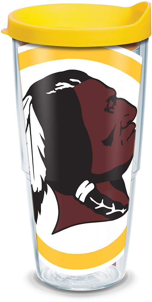 Tervis 1085262 NFL Washington Redskins Colossal Tumbler with Wrap and Yellow Lid 24oz, Clear