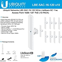 Ubiquiti LBE-5AC-16-120 5GHz 10-PACK LiteBeam AC 11ac Access Point 16dBi 120 PoE