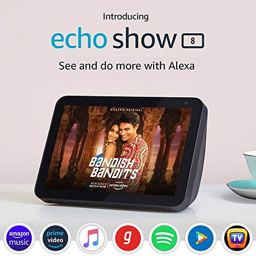 Echo Show 8 (1st Gen, 2020 release) – Smart speaker with 8″ HD screen, stereo sound & hands-free entertainment with Alexa (Black)