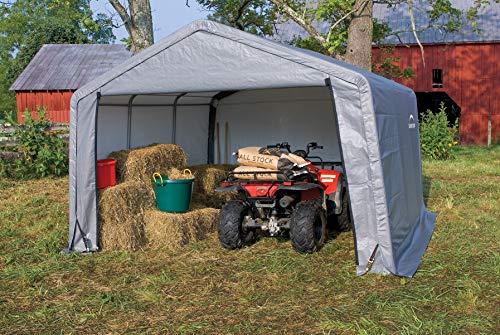 ShelterLogic - Pantalla dispositivos dispositivo Casa en de caja a, 13,7 m², 370 x 370 cm; Pantalla Garage y almacenamiento Garaje: Amazon.es: Jardín
