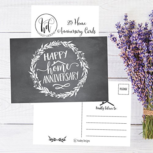 25 chalk happy home anniversary realtor cards blank greeting house