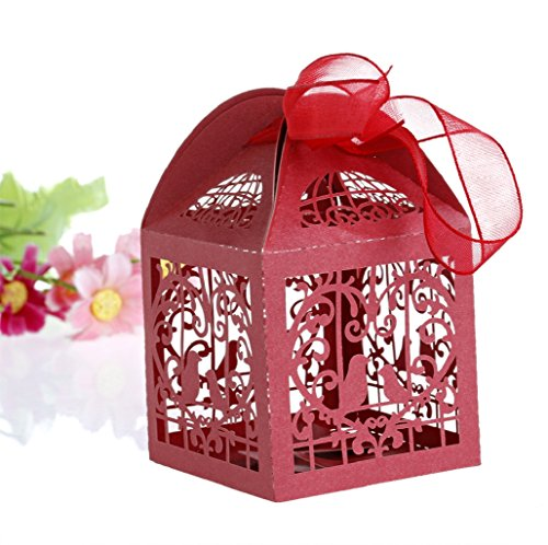 Wrisky 50pcs Cut Birdcage Wedding Favor Box candy box baby shower box wedding favors and gifts box Bomboniere with Ribbons Bridal Shower Wedding Party Favors (Red)