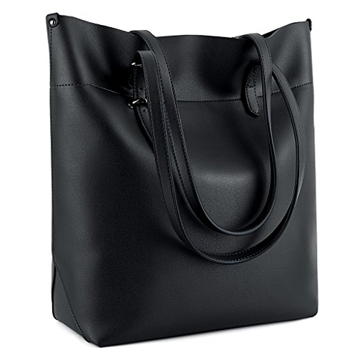 Women Fashion Color Large Capacity Bag Shoulder Tote Bag (Black) - 8