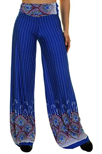 (Uptown Apparel Womens Fold Over Waist Wide Leg Palazzo Pants, Good for Tall Curvy Women-Ships from U.S.A (Los Angeles) (L, RoyalBlue))