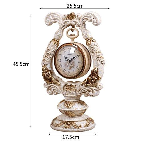 SESO UK- Reloj de cuarzo retro Europeo Resina Relojes de pie de estantería de la sala de estar (Color : Amarillo claro) : Amazon.es: Hogar