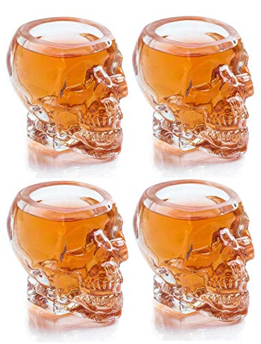 Monkey and Heroes Extra Large Skull Shot Glasses Set of 4, Use Skull Head Cup For A Whiskey, Scoth and Vodka Shot Glass, 3 Ounces (Monkey Skull)