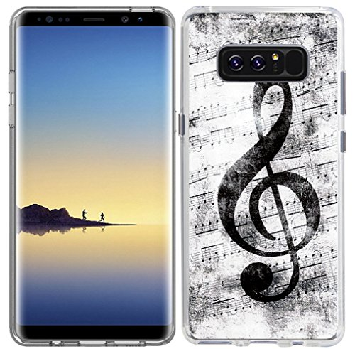 (Note 8 Case & Galaxy Note 8 Cover Music & MUQR Skin Rubber Gel Silicone Slim Drop Proof Protection Protector Compatible with Samsung Galaxy Note 8 & Music Note Vintage Design Pattern)