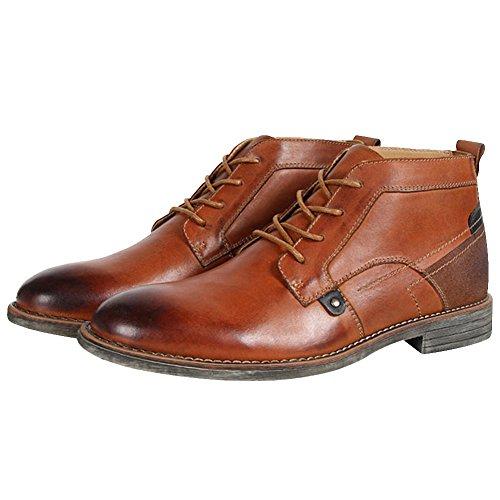 rismart Homme Cheville Haute Rond Orteil Populaire Cuir Chukka Bottes et Boots SN01801(Bronzage,EU40)