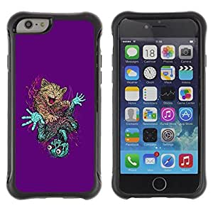LASTONE PHONE CASE / Suave Silicona Caso Carcasa de Caucho Funda para Apple Iphone 6 PLUS 5.5 / Cute Cat & Skeleton Abstract
