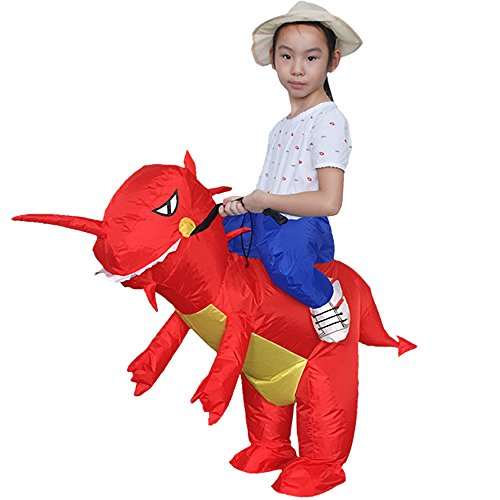 [Inflatable Rider Costume Riding Me Fancy Dress Funny Dinosaur Unicorn Funny Suit Mount Kids Adult (Child(90-140CM),] (Red Inflatable Funny Costumes)