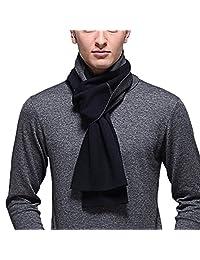 PENAGY Men Winter Super Woollen Fashion Scarves Stripe Soft Scarf Shawl-Blue&Gery
