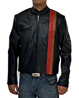 Marc Rossario Black Snap Tab Collar Mens Leather Motorcycle Jacket