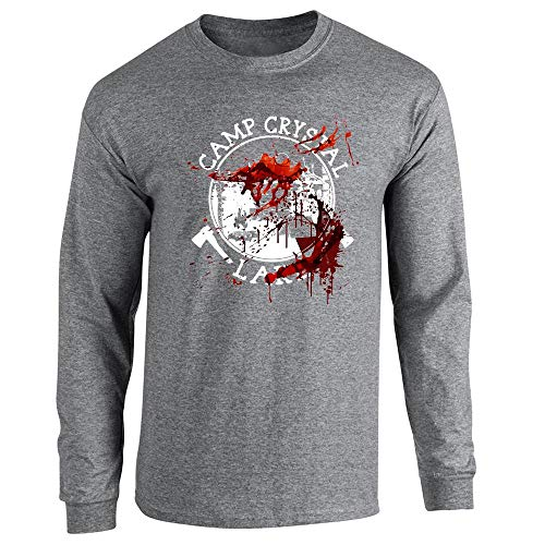 Pop Threads Camp Crystal Lake Counselor Costume Staff Bloody Graphite Heather XL Long Sleeve T-Shirt -