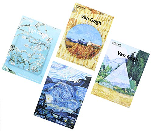 RIANCY Van Gogh Series Small Sticky Notes, Mini Memo Pad, Pocket Notebook, Things to Do List, Schedule Marker for School Office Home 30 Sheets per Pad