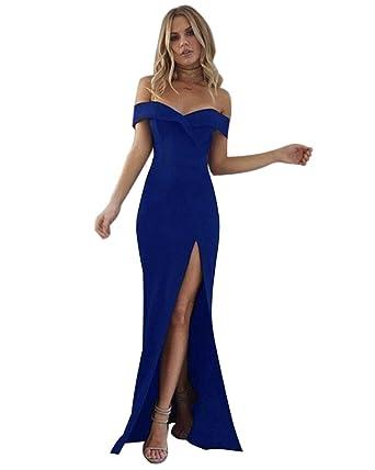 Minetom Damen Elegante V Ausschnitt Schulterfrei Lang Maxi Kleid Einfarbig  Split Festlich Hochzeit Abendkleid Cocktailkleid Partykleid  Amazon.de  ... 554399d1e1
