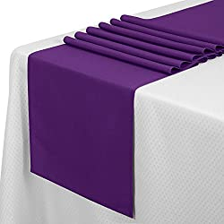 VEEYOO 10 Pieces 14x108 inch Polyester Table Runner for Restaurant Kitchen Dining Wedding Party Banquet Events, Purple