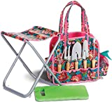 9 Piece Deluxe Garden Tote With Stool, Kneeling Pad And Tools By Picnic Plus