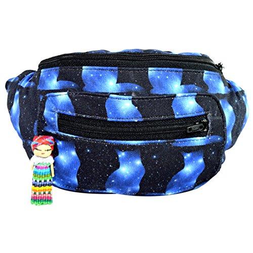 Galaxy Cat Fanny Pack, Boho Chic Handmade w/Hidden Pocket (Space Felines) by Santa Playa