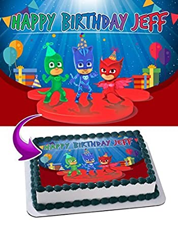 PJMasks Pj Masks Edible Cake Topper Personalized Birthday 1 4 Sheet Decoration Custom Party