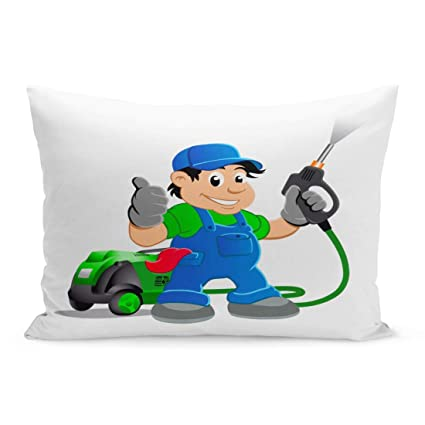 Brilliant Amazon Com Emvency Throw Pillow Covers Clean Cartoon Worker Interior Design Ideas Philsoteloinfo