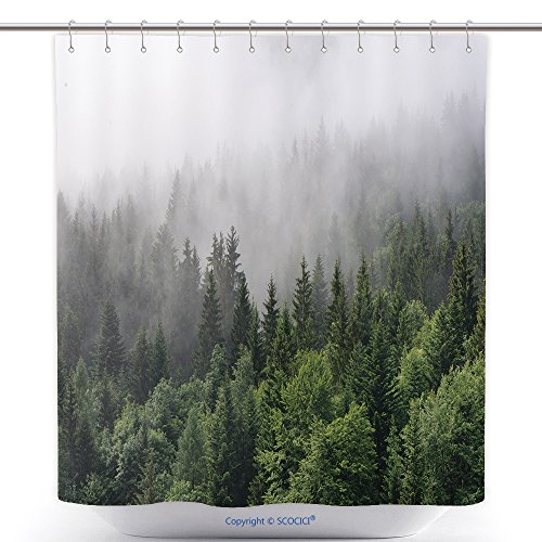Fog Machine Toronto (Antibacterial Shower Curtains Evergreen Forest Overview Tops Of Tall Green Trees With Dense Fog Rolling In Over Lush Wilderness 294574169 Polyester Bathroom Shower Curtain Set With Hooks)