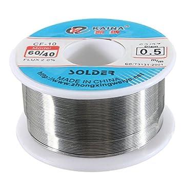 El estaño de 5 mm conduce el corazón de resina del alambre de la soldadura soldadura del tubo de carrete del flujo del 2% 60/40: Amazon.es: Electrónica